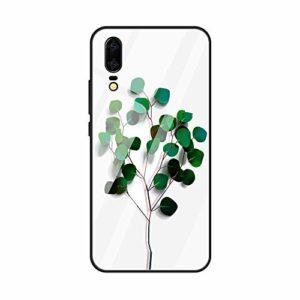 Caler Verre Trempé Arriere Protection Antichoc Coque Compatible pour Xiaomi Redmi 7 [Motif en Verre trempé] avec Silicone Bumper de Mignon Motif Design Mince-Souple Case Etui(Feuilles1)