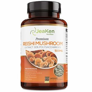 Champignon REISHI Premium de JeaKen – Capsules Haute Résistance de 90 x 500mg d'Extrait de Reishi à 30% de Polysaccharides – Sans Gluten – Sans Allergène – Fait au Royaume-Uni selon le Code GMP