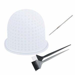 CHIFOOM Kit de Bonnet pour meches cheveux Bonnet à Mèches en Silicone Coloration Reutilisable Outils de coiffure et Crochet et 2 Brosse à cheveux Pour Cheveux de Coloration