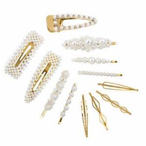 CINEEN Épingles à Cheveux De Perle Artificielle Décorative Barrettes Accessoires Élégantes pinces à cheveux pour mariée Demoiselle d'honneur Filles Femmes Enfants 12 Pièces