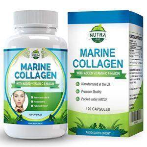 Complexe de Collagène Marin, Complément Anti-Rides Haute Puissance avec de la Niacine et de la Vitamine C. La peau fatiguée gagne en elasticité et semble rajeunie – 120 Capsules