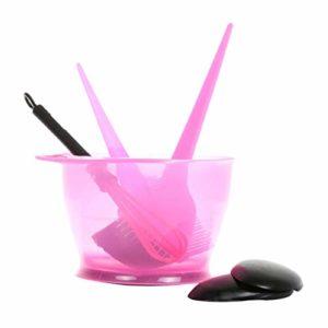 CUTICATE Kit de Coloration des Cheveux Brosse Bol Peigne Couvre Oreille Outils Salon de Coiffure pour Coiffeurs Barbiers Professionnels – Rose