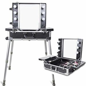 Cxjhh Valise à roulettes en Aluminium pour cosmétiques, Maquillage, Voyage, Salon de beauté, Organiseur de Bijoux, Coiffeur verrouillable, Chariot Professionnel réglable