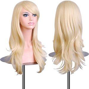 EmaxDesign 70 cm haute qualité Perruque Cosplay Pour femmes Long Complète bouclé ondulé Chaleur résistant Mode Glamour perruque avec Free Bonnet Perruque & Peigne De Perruque (Couleur:Blond clair)