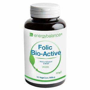 EnergyBalance acide folique 90 gélules à 500μg 5-MTHF acide folique | Pour augmenter l'absorption des folate | Vitamine B9 | Végétalien, sans lactose et sans gluten | Sans colorants et conservateurs | Fabriqué en Suisse