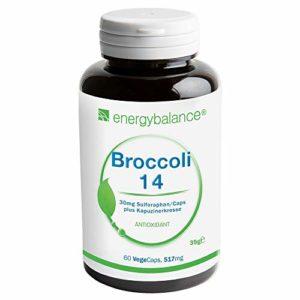 EnergyBalance Extrait de brocoli 60 capsules à 515 mg avec 30 mg de sulforaphane | Avec capucine | Des doses élevées et Vegan | Fabriqué en Suisse