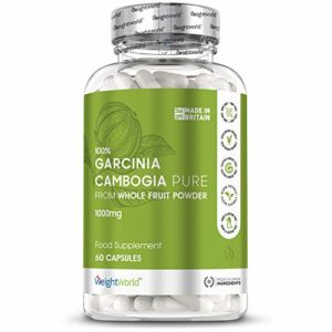 GARCINIA CAMBOGIA PURE 1000mg – Extrait Pur 100% Naturel – Coupe Faim et Perte de Poids – Produit Minceur VEGAN – Riche en Acide Hydroxycitrique – 60 gélules Garcinia Cambogia par WeightWorld