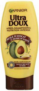 Garnier – Ultra DOUX Après Shampooing pour Cheveux Très Secs/Frisés Huile d'Avocat/Beurre de Karité 200 ml – Lot de 3