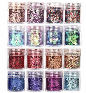 GCOA Chunky Glitter, ongles paillettes Paillettes Glitter pour les ongles et le maquillage, 16 mélanges de couleurs