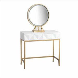 Gfdsase Personnalité Vanity Set De Table avec Miroir Ronde Et Molletonné Tabouret Coiffeuse Vanity Maquillage avec L'organisateur De Maquillage Gratuit Cosmétique Finition
