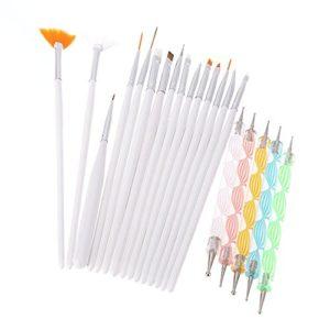 Goliton® 20pc pinceaux à ongles Nail Art stylo Design Peinture Parsèment Detailing