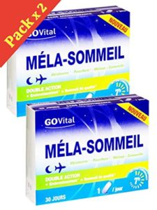 Govital – MELA-SOMMEIL Double Action: Endormissement et Sommeil de qualité – 2 Boites de 30 Gélules