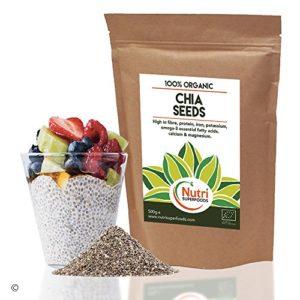 Graines de Chia Bio de NUTRI SUPERFOODS. Riche source de protéine végétale de qualité supérieure – 500g