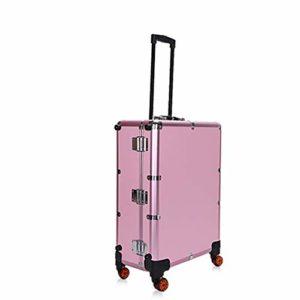 HUATINGRHBO Caisse de Maquillage Roues Omni-Direction roulantes organisant des Produits de Voyage, Studio de Travail Debout Professionnel, Pink