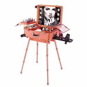 HUATINGRHBO Embellissez la Caisse cosmétique de Train de beauté de Chariot à beauté avec la Caisse de Maquillage/Support/Miroir de roulement Roulant Organisateur Portable, Gold