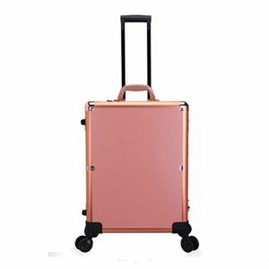 HUATINGRHBO Trolley Case Cosmetics Beauty Trolley Box Voyage Maquillage Case Storage Vanity Case Stockage Coiffure Organisateur, Studio De Beauté, Maquilleur Professionnel, Rose Gold