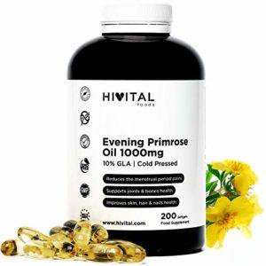 Huile d'Onagre 1000 mg Pressée à Froid avec 10% GLA | 200 capsules | Peut aider à diminuer les symptômes pré-menstruels, ménopausiques et à maintenir la santé de la peau et des os