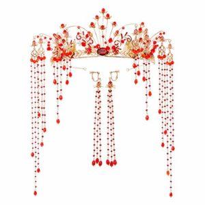 JUNMYEON Diadème De Mariage Nuptiale Couronne Cheveux Boucle Bridal Bandeau avec Peigne Être Applicable Le Mariage Proms Pageants Princesse Parties Anniversaire