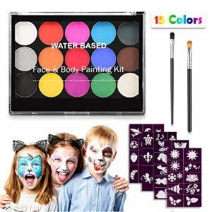 Keten Kit de Maquillage pour Enfants, Kit de Maquillage Professionnel Non Toxique 15 Couleurs avec 2 pinceaux et 40 pochoirs, Maquillage pour Le hypoallergéniques activés à l'eau pour de fête Cosplay
