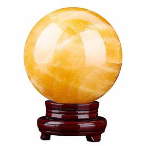 La guérison naturelle de cristal Chakra Pierres pour Crystal Therapy, guérison Cristal Poli Quartz minéral guérison fluorite avec bois Tenez, pour la guérison Chakra, Relaxation, décor,28cm