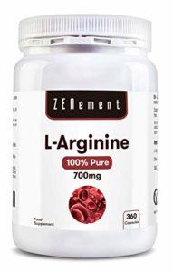 L-Arginine 100% Pure, 700 mg, 360 Gélules | Vasodilatateur, soutient la performance athlétique, la construction musculaire et la santé cardiovasculaire. | 100% Végétalien, Non-GMO, GMP, sans additifs, sans Gluten | de Zenement
