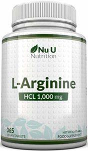 L-Arginine 4000 – 365 comprimés pour Végétariens et Végétaliens, Approvisionnement jusqu'à Une Année de L-Arginine HCL, 1000mg Par Comprimé, Plus Fort Que les Comprimés L-Arginine de nos concurrents – par Nu U Nutrition