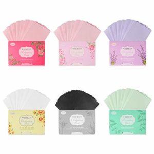 Ledoo 6 Packs Papier Facial Buvard D'huile, Papier Buvard D'huile Naturelle de Maquillage pour Enleverla huile sur le visage, Nettoyez votre Peau sans Endommager votre Maquillage