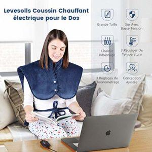 Levesolls Coussin Chauffant 63 * 100cm pour Dos Épaules avec 3 Niveaux de Températures Tissu Ultra-Doux Chauffage Rapide pour Relaxation et Soulager La Douleur