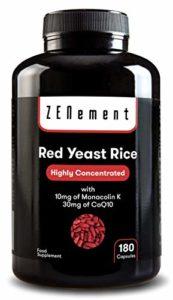 Levure de Riz Rouge concentrée avec 10 mg de Monacoline K et Coenzyme Q10, 180 Gélules   Contrôle les niveaux de cholestérol sanguin   100% Vegan, non-GMO, sans additifs, sans gluten   de Zenement