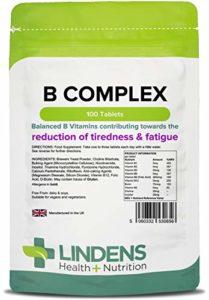 Lindens Complexe de vitamine B en comprimés   100 Lot   Formule équilibrée contenant 8 vitamines B, enrichie en vitamine C, choline, inositol et PABA contribuant à un métabolisme normal et à une diminution de la fatigue et de la lassitude