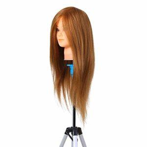 LNNUKc Salon de Coiffure Formation Pratique Chef Mannequin véritable Chef Cheveux Cosmétologie Poupée Tête Mannequin Tête Pratique Dummy Head Blonde pour Blanc ou pâle Scalp