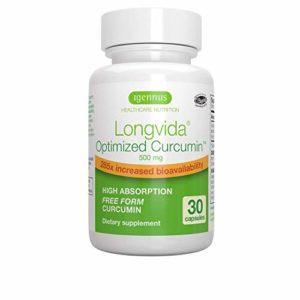 Longvida Curcumine Optimisée – 500 mg Curcumine 285x biodisponibilité accrue – 1-par-jour – 30 gélules