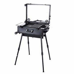 Maquillage Artiste Cas Pro Roulant Studio avec Dimmable Éclairé Miroir avec Jambes 4 La musique Orateur Multimédia Cosmétique Boîte,Noir
