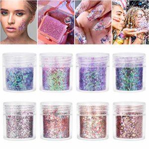 Maquillage Paillettes Glitter pour le visage, le corps et les cheveux 8 couleurs de décoration scintillante de paillettes cosmétiques pour le Festival et la fête (8pcs)