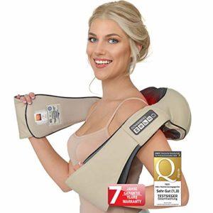 Massage cervical chauffant – Donnerberg Original Premium – Appareil de massage shiatsu – Haute qualité allemande – Soulage les douleurs cervicales et lombaires – Chaleur douce et vibration – Pour bureau, domicile, voiture