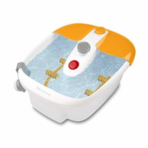 Medisana FS 883 bain à remous pour les pieds avec réflexologie plantaire – bain de pieds électrique, fonction chauffante, massage par vibrations, accessoires de pédicure
