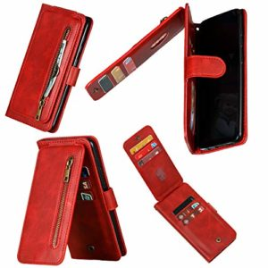 Miagon Multi-Usage Fermeture éclair Coque pour Xiaomi Redmi 7A,Portefeuille en Cuir Housse Case Rabattable avec 9 Rangements de Cartes et Aimantée,Rouge