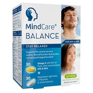 MindCare BALANCE supplément de soulagement du stress – huile de poisson sauvage oméga-3, magnésium, L-théanine & multivitamines pour le système nerveux ; formule en deux gélules qui vous aide à rester détendu, offre le soulagement du stress et de l'anxiété, 6×60 capsules