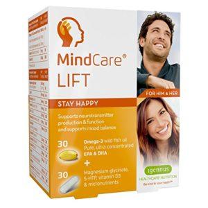 MindCare LIFT, complément alimentaire de bien-être émotionnel – huile de poisson sauvage oméga-3 haute puissance, magnésium, 5-HTP et multivitamines pour équilibrer l'humeur et soutenir le fonctionnement du cerveau et la production de neurotransmetteurs, 6×60 capsules