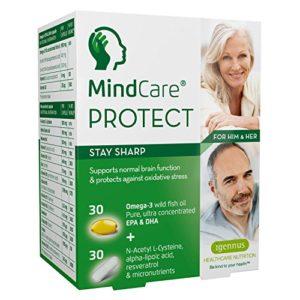 MindCare PROTECT, gardez l'esprit vif – supplément pour stimuler le cerveau et la mémoire – huile de poisson sauvage oméga-3 haute puissance, N-acétyl L-cystéine, acide alpha-lipoïque, resvératrol et multivitamines pour soutenir le cerveau et la fonction cognitive chez les adultes gés de plus de 45 ans, 6×60 capsules