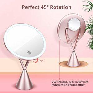 Miroir de Maquillage Lumineux, Miroir de Cosmétique avec 1x/5x Grossissant, Lampes à Écran Tactile et Recharge USB, avec Lumière Froide/Lumière Naturelle/Lumière Chaude + Support Réglable à 45 Degrés