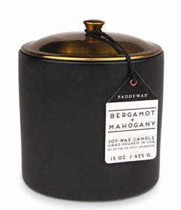 Paddywax Candles Bougie en Cire de soja dans Un Pot en céramique, Bergamote + Acajou, 15-Ounce
