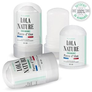 Pierre d'Alun Lola Nature – 3 sticks Déodorant de 60gr – 100% naturel – Sans paraben ni chlorhydrate d'aluminium/Efficace contre les coupures du rasage
