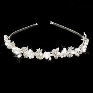 Pixnor Fashion strass perle fleur feuille Tiara cheveux bande serre-tête femmes