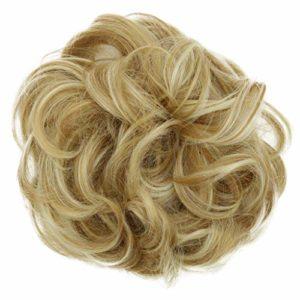 PRETTYSHOP XXL Postiche Cheveux En Caoutchouc Chouchou Chignons VOLUMINEUX Bouclés Ou Chignon Décoiffé mélange de blonde # 27H613 G20E
