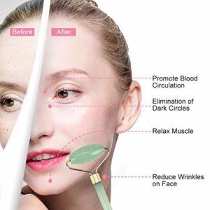 Rouleau de jade,Jade Roller Visage,Massager Jade Facial, Naturel Pierre de Jade,Rouleau de Massager pour Votre Visage, Cou, Corps et Yeux, anti-vieillissement et serrer l'outil de soin de peau
