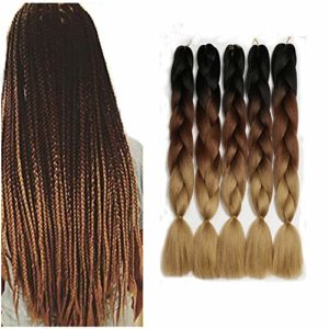 Showjarlly 5 Pièces Ombre Tresse Jumbo Cheveux Synthétiques 24 Pouce 100g Kanekalon Cheveux Tressage Extensions Pour Crochet Twist Tressage Cheveux (5PCS, C14-Noir/Brun Foncé/Marron Clair)