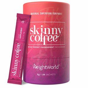 SKINNY COFFEE – Café Minceur – Boisson Detox -Programme 28 jours – Puissant Cafe Bruleur de graisses – Gestion et Perte de poids – Ingrédients Naturels: Spiruline, Café Arabica – WeightWorld