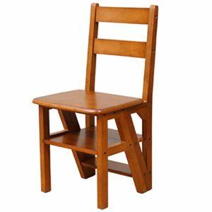 SONGTING Step stool Escabeau en Bois Pliant 4 Niveaux Portable Échelle Chaise Siège Polyvalent Multifonctionnel Solide en Bois Construction Espace Maison Cuisine Salle De Bains Meubles De Bureau