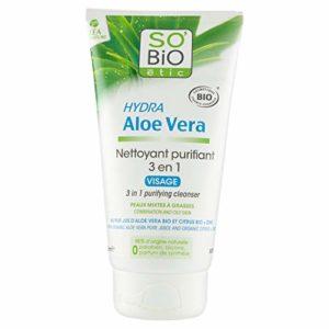 SO'BiO étic Nettoyant 3 en 1 Peaux Mixtes à Grasses Hydra Aloe Vera Bio 150 ml